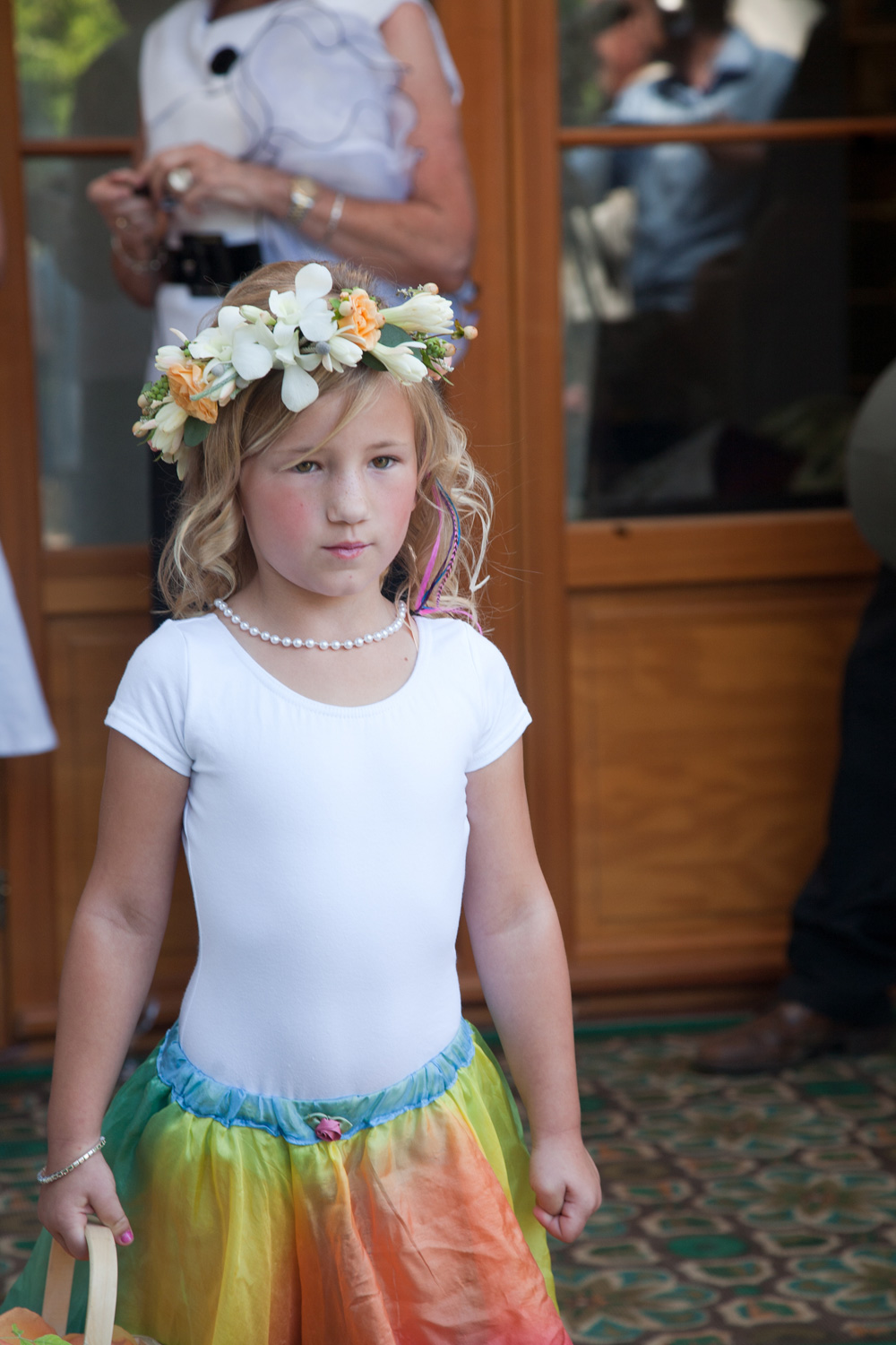 The flower girl prepares to walk down the aisle